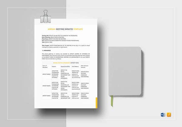 21 meeting minutes templates pdf doc free premium for Annual corporate minutes template free