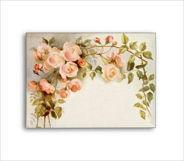 antique pink rose flowers floral wedding envelope