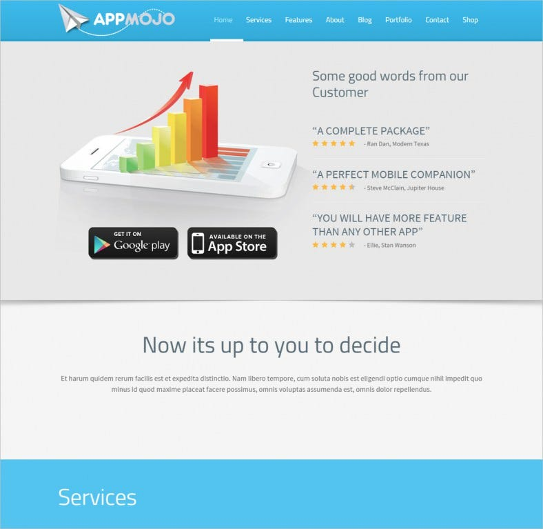 app mojo responsive single page promotion theme 788x767