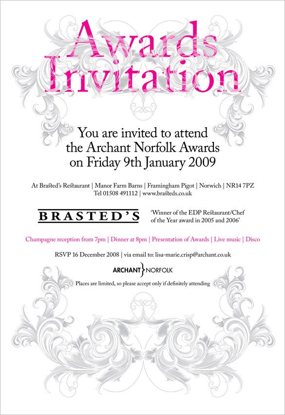 10 Glorious Award Ceremony Invitation Templates – Ceremony Invitation Template