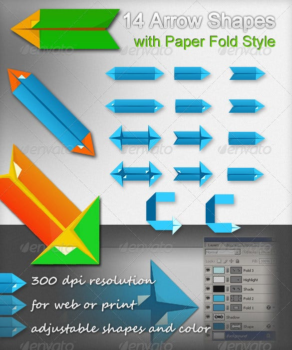 arrow shapes with paper fold style psd 4