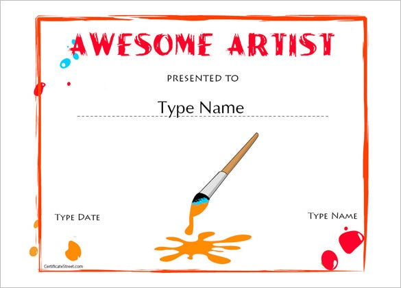 art school certificate of appreciation template certificatestreetcom