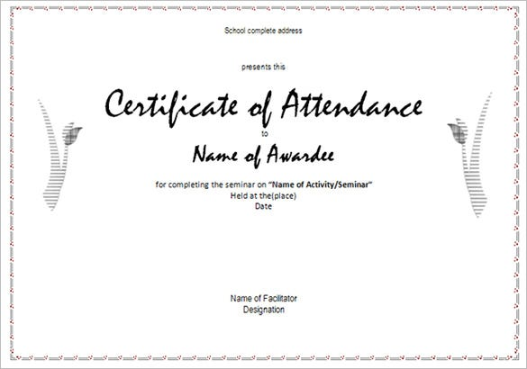 Perfect Course Attendance Certificate Template To Certificate Of Attendance Template Microsoft Word