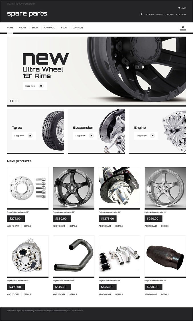 auto parts responsive jigoshop theme