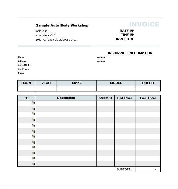 Estimate Form Template And Auto Body Repair Estimate Template Sawyoo