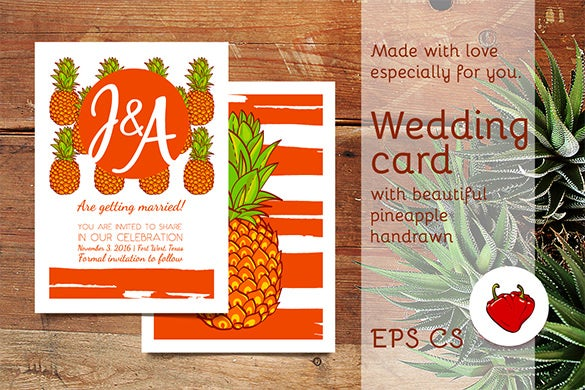 awesome pineapple wedding card eps template 6