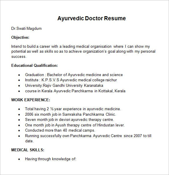 ayurvedic doctor resume template - Resume Format For Doctors