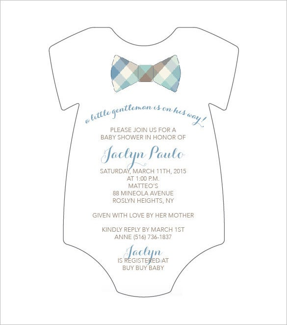 baby shower invitation onesie template