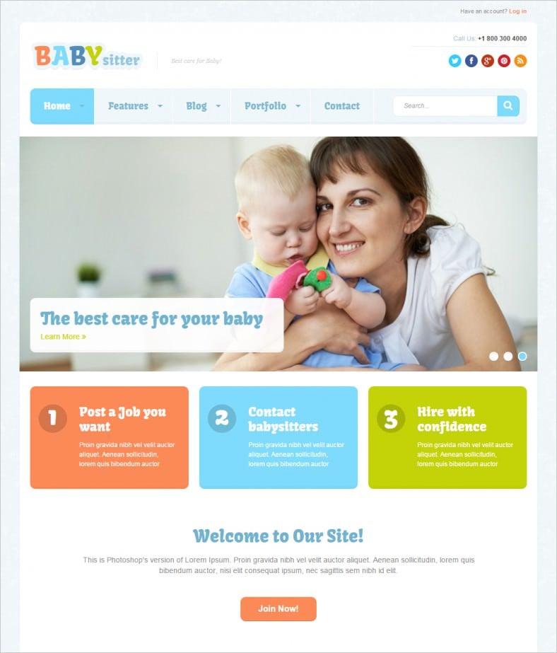 babysitter responsive joomla template 788x923