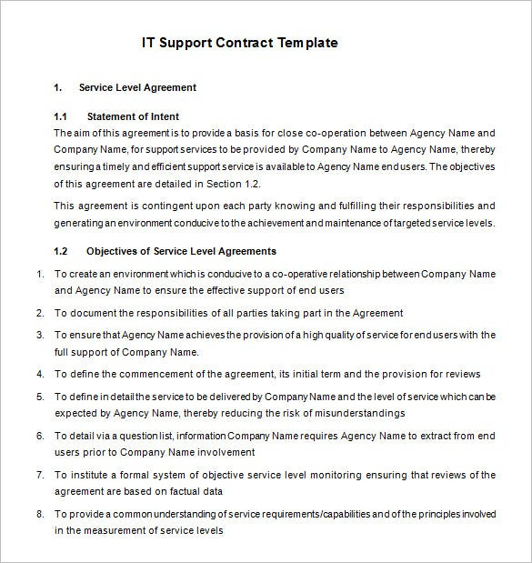 basic it support contract template free download