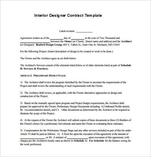 8 Interior Designer Contract Templates Free Word PDF Documents