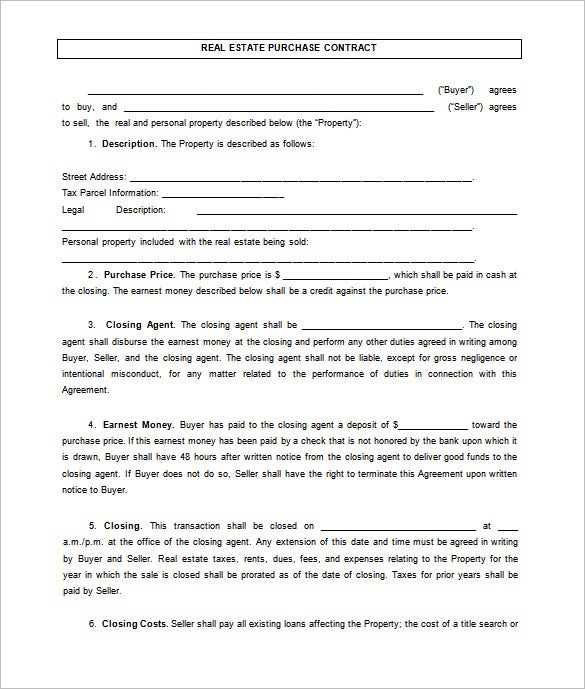 Basic Real Estate Sales Contract Template  Property Purchase Agreement Template