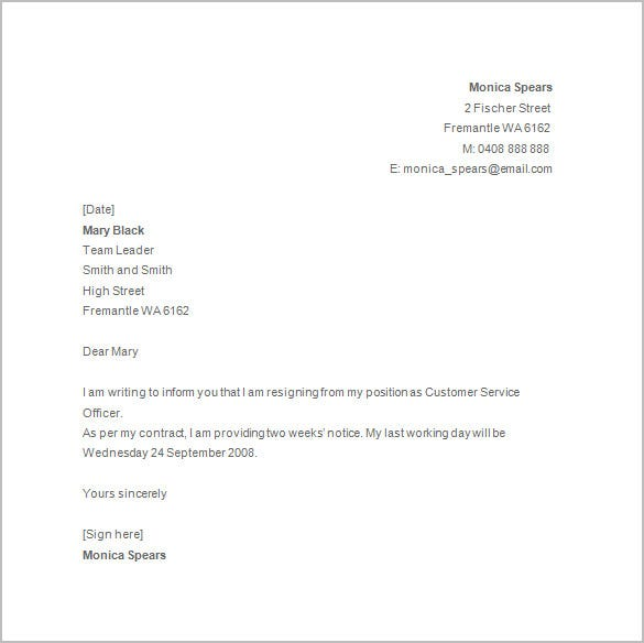 Resignation Letter Templates Free Sample Example Format Standard Template Notice Of Resignations 14 Samples Examples Download