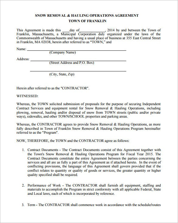 basic snow removal contract template free pdf
