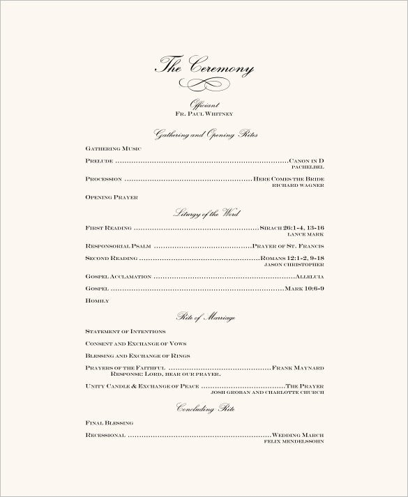 wedding ceremony program template  u2013 31  word  pdf  psd