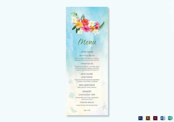 beach wedding menu card indesign template