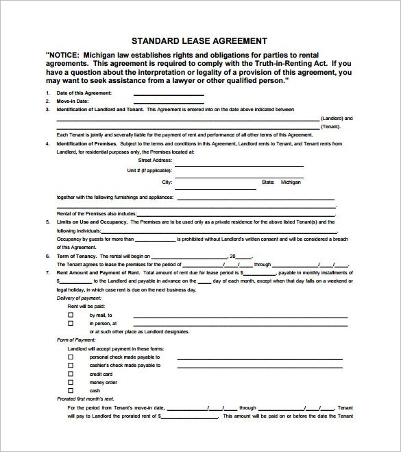 9 Lease Contract Templates Free Word PDF Documents Download – Lease Agreements Sample