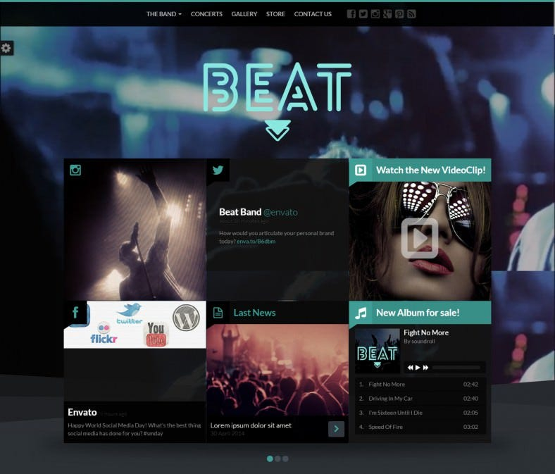 beat one page music band joomla template 788x673