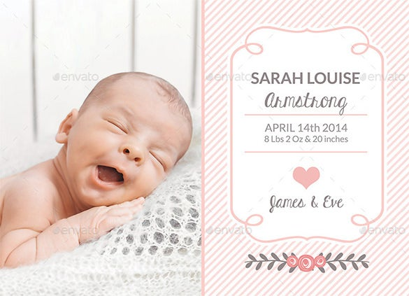 beautiful baby psd photo card template