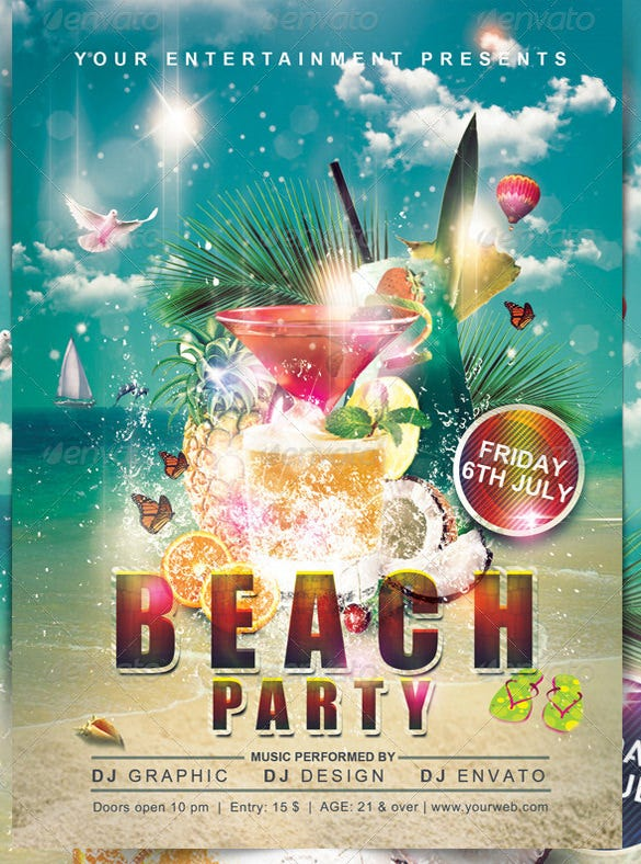 17 Amazing PSD Beach Party Flyer Templates Designs – Beach Party Flyer Template
