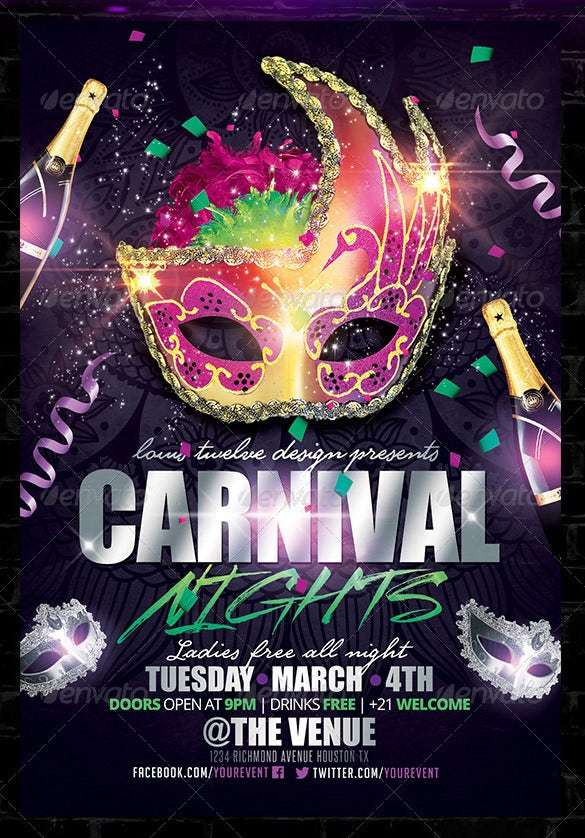 beautiful carnival nights flyer template