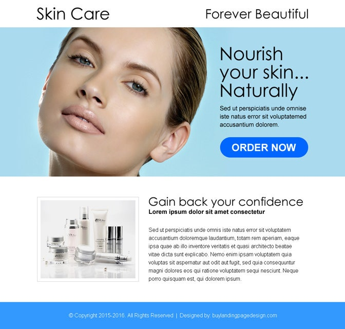beautiful ppv landing page for skin care