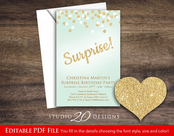 beautiful surprise party invitation