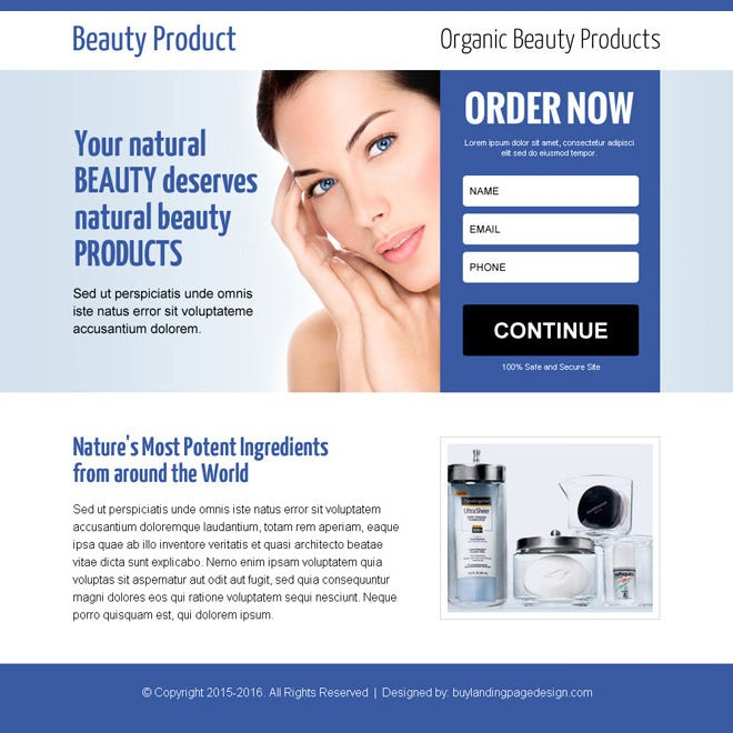 Beauty Product Ppv Landing Page Design