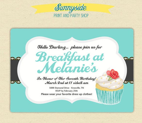 Wonderful Breakfast Invitation Templates  Free  Premium