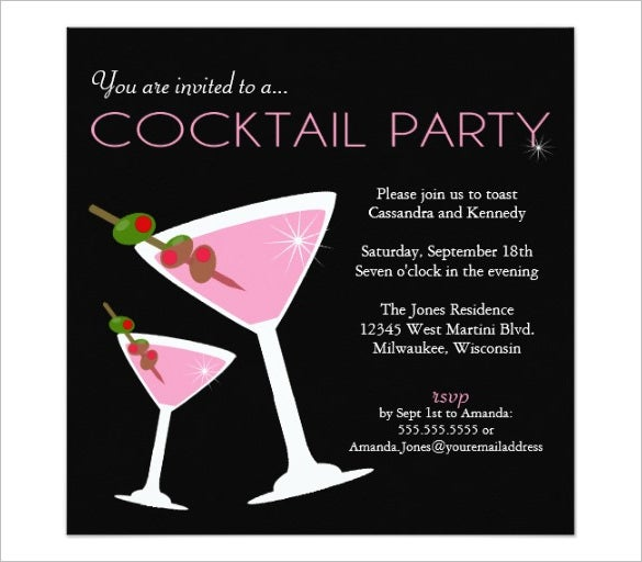 17 stunning cocktail party invitation templates designs for Cocktail party invite template