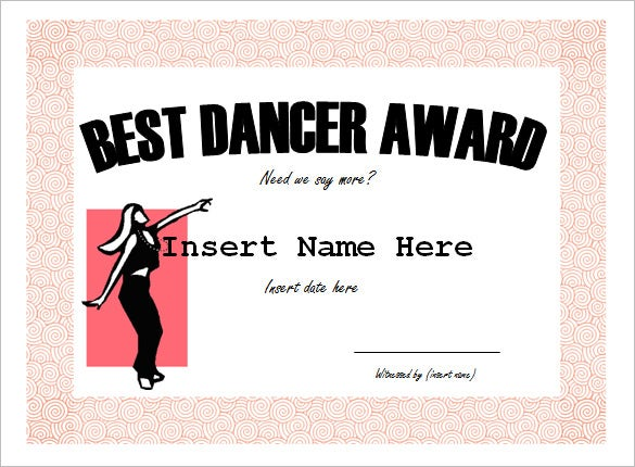 best dancer award funny certificate template
