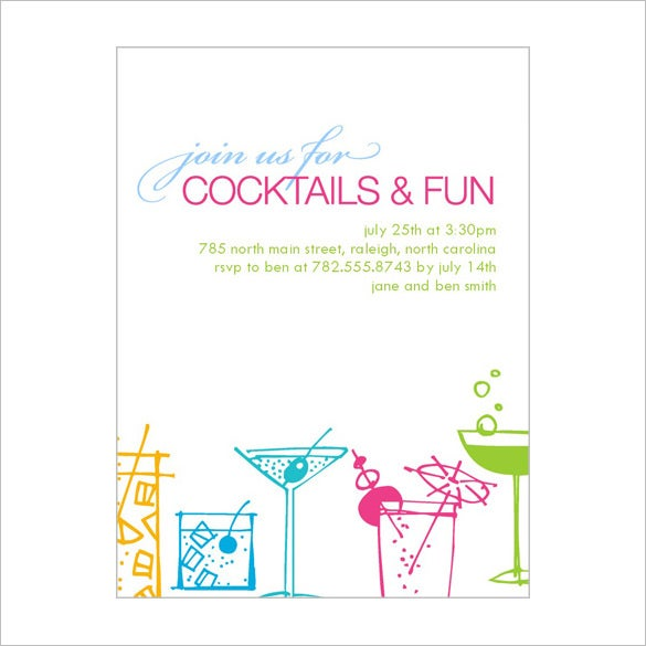 Best PSD Cocktail Party Invitation Template  Free Birthday Party Invitation Templates For Word