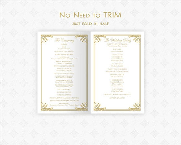 Wedding Ceremony Program Templates PSD AI InDesign PDF DOC - 5x7 wedding program template