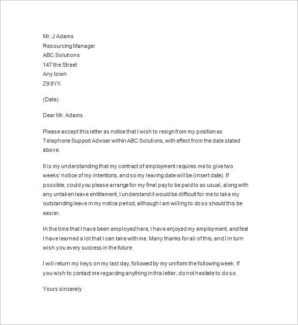 Best Two Weeks Notice Letter Template  Letter Of Resignation 2 Weeks Notice