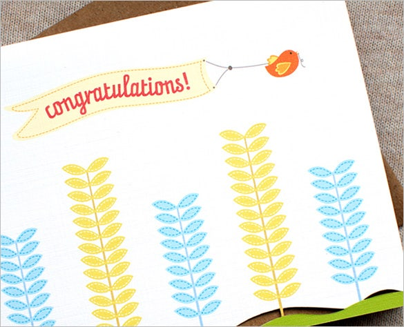 birds plants congratulations card free download