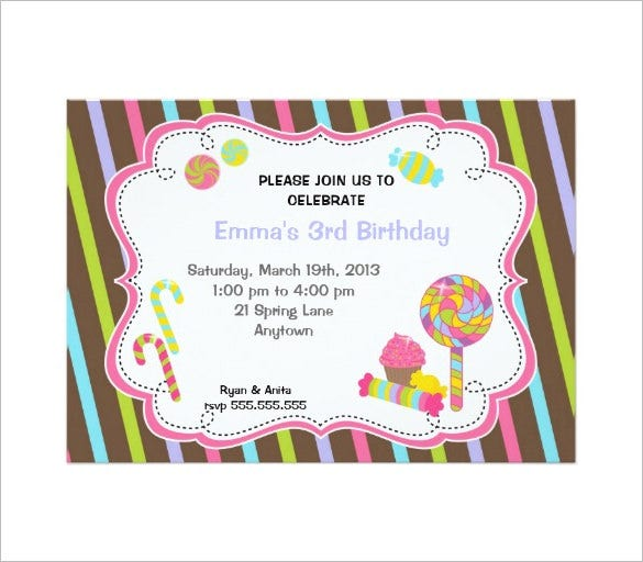 birthday candyland invitation template