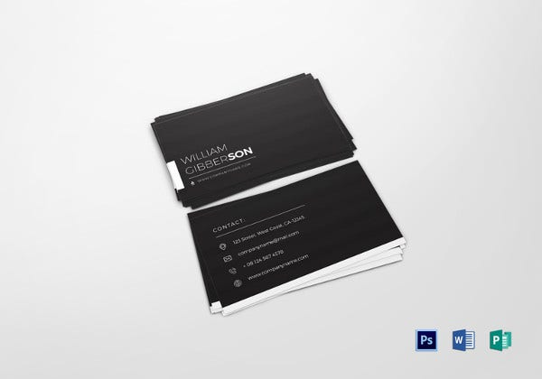 black business card psd template