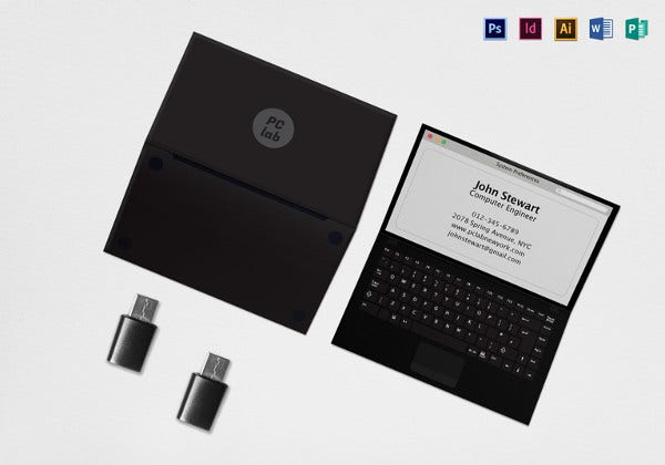 black laptop business card