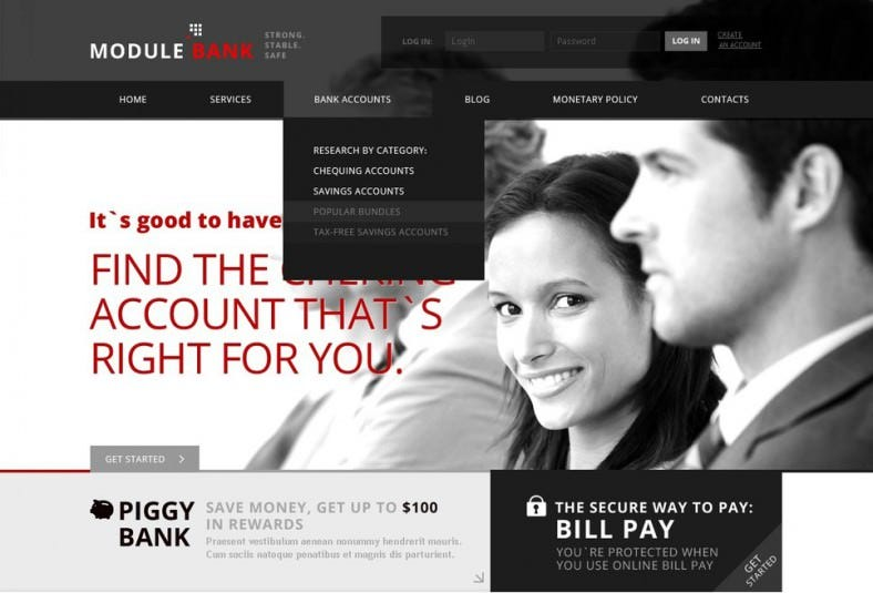 black white bank wordpress template 788x535