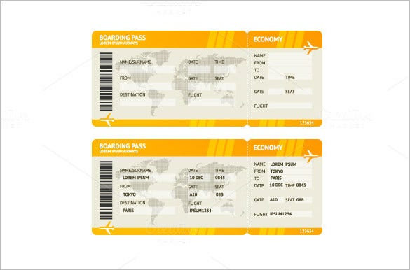 Blank Airline Ticket  Free Download