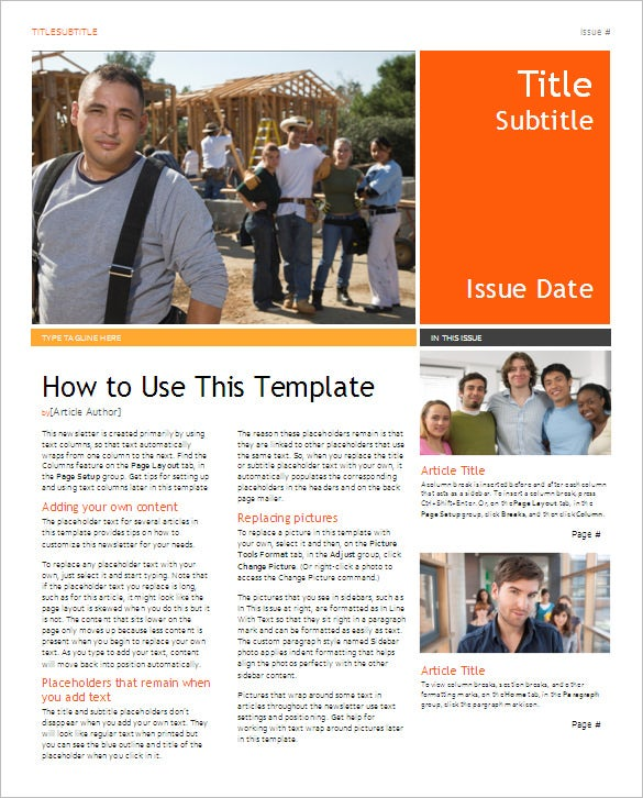 free downloadable newsletter templates for word