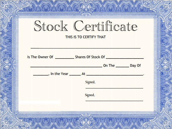 blank corporate stock certificate template download