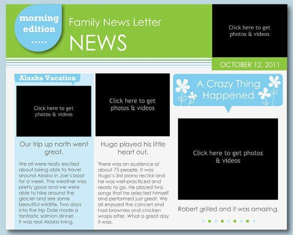 blank family newsletter template creator