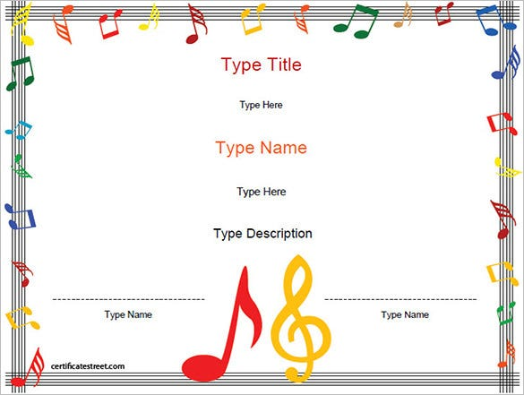 6 Printable Music Certificate Templates Free Word PDF – Certificate Printable Templates