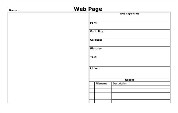 blank webpage story board template download