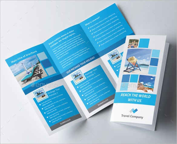 blue coloured travel trifold brochure