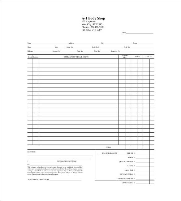 Auto Body Repair Cost Estimator: 23+ Free Word, PDF,Excel,Google