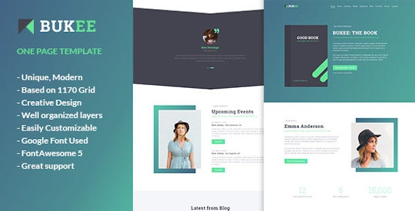 book author one page psd template