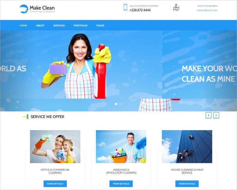 Bootstrap Responsive Joomla Theme for Cleaning Company