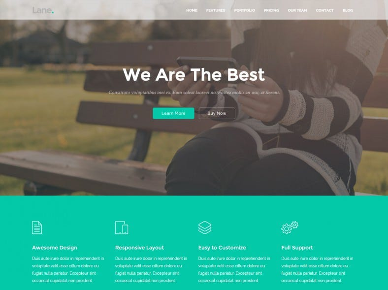 Bootstrap Responsive Landing WordPress Theme
